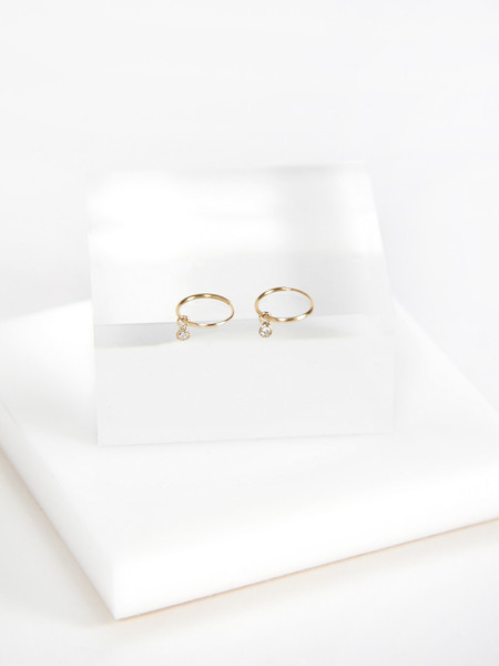 Vale Tiny Hoop Earrings with Diamonds