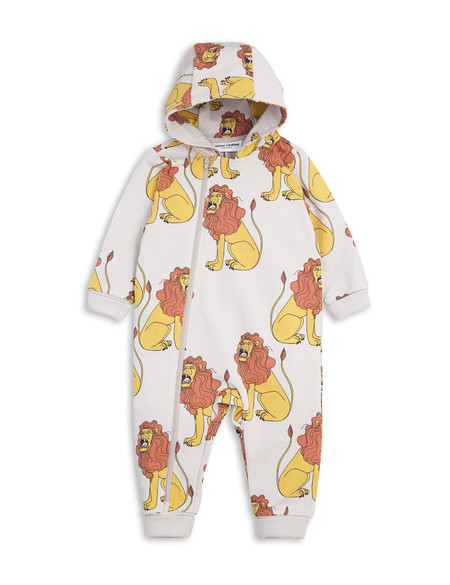 Kid's Mini Rodini HOODED LION PRINT ONESIE