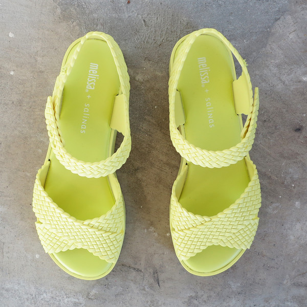 Melissa Hotness + Salinas Sandals in Lime Yellow