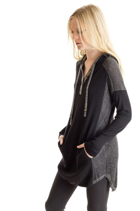 Paychi Guh Cashmere Sweater Dress Hoodie Black/Ivory