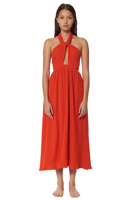 Mara Hoffman TWIST FRONT HALTER DRESS