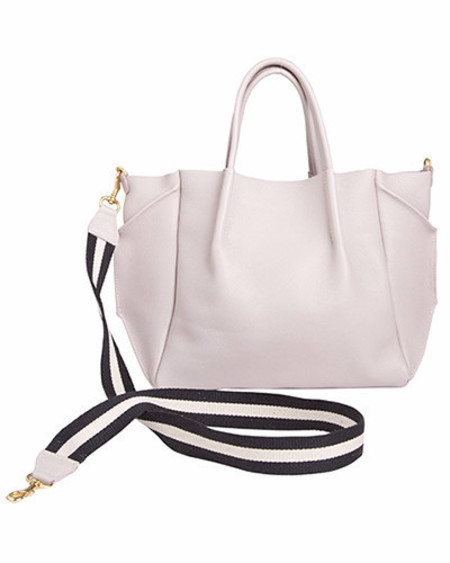 Oliveve zoe tote in buff pebble cow leather striped cotton cross body strap