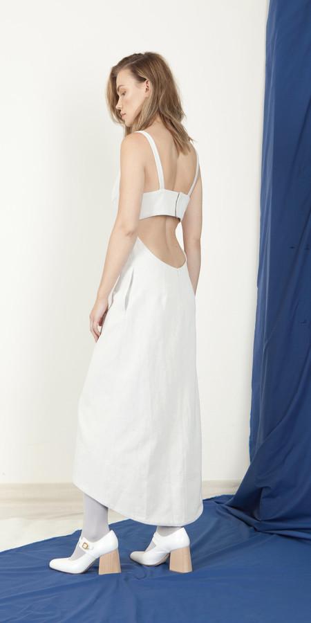 SCHAI Open Back V-Neck Dress