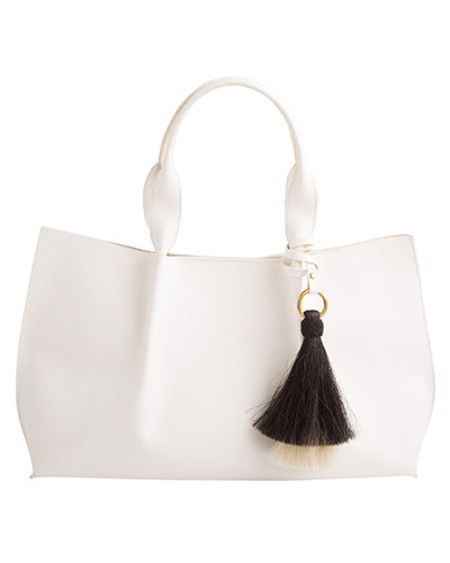 Oliveve isabel tote in white saddle leather with double horsehair tassel - for preorder
