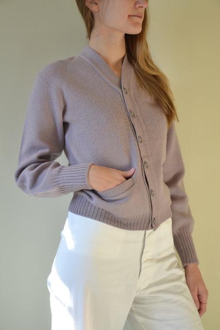 ROCKY+LUELLA Vintage  Lavender 100% Wool Cardigan - Size S