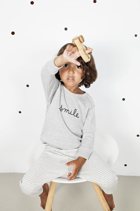Organic Zoo Grey SMILE Sweatshirt & Striped Pants
