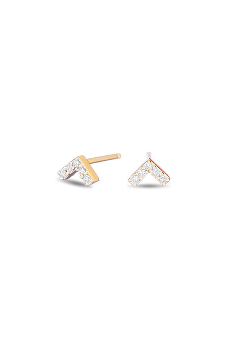 Adina Reyter Super TIny Pave V Posts 14k Yellow Gold