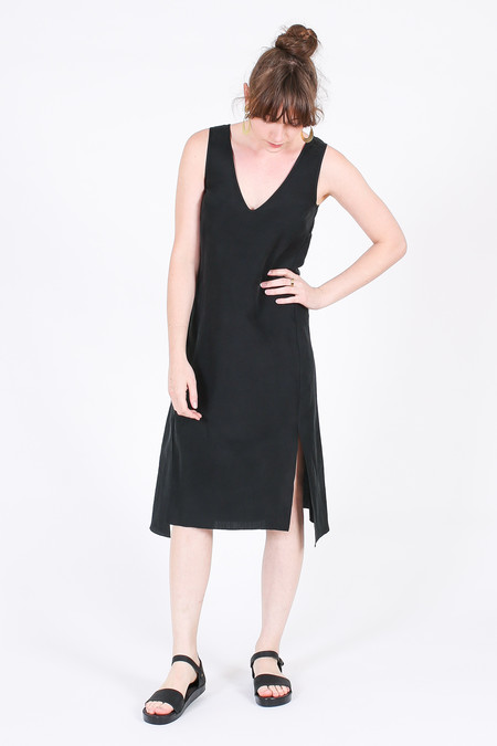 Vincetta Roan Slip Dress in Black Linen/Silk