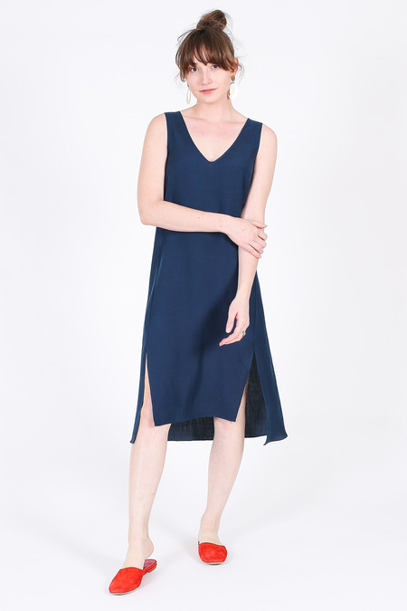 Vincetta Roan Slip Dress in Navy Linen/Silk
