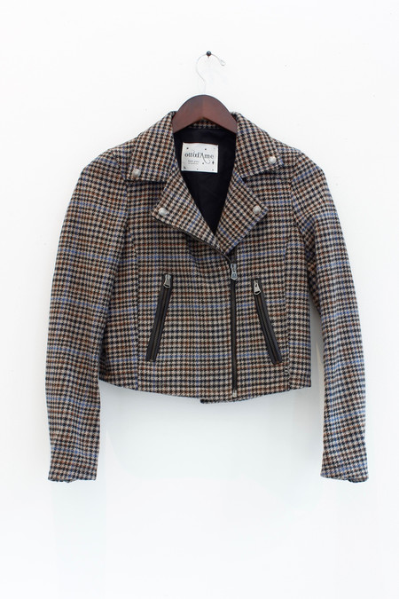 Ottod'ame Cropped tweed jacket with zipper