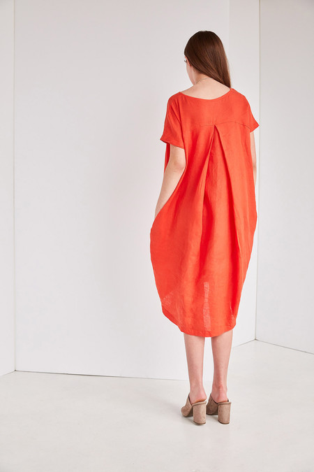 Black Crane Pleated Cocoon Dress - Paprika