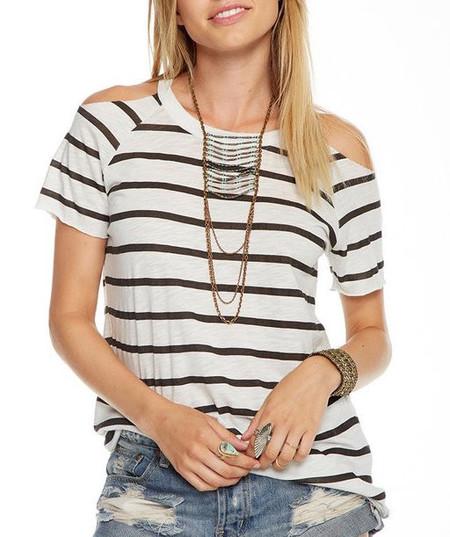 Chaser LA Striped Cold Shoulder T-shirt