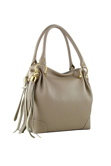 Ella Valentine Charlotte Casual City Tote - Light Taupe