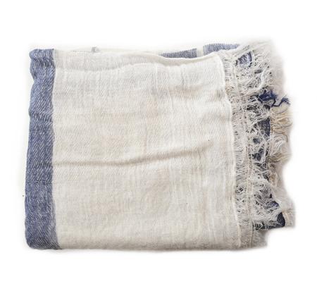 Tamaki Niime White Navy and Grey Cotton Woven Shawl