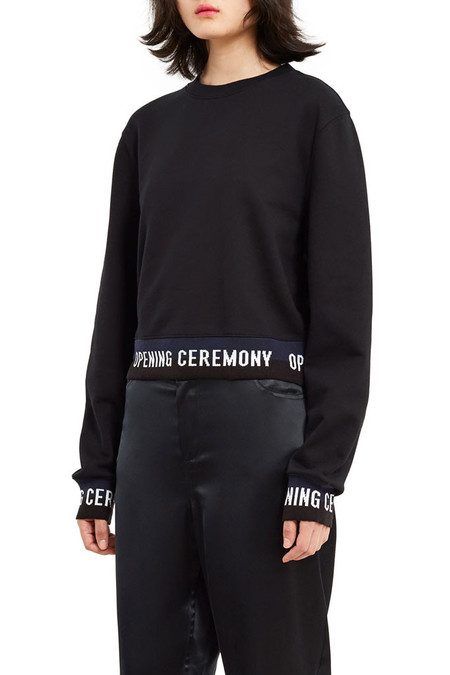 Opening Ceremony Logo Cropped Sweater | Black