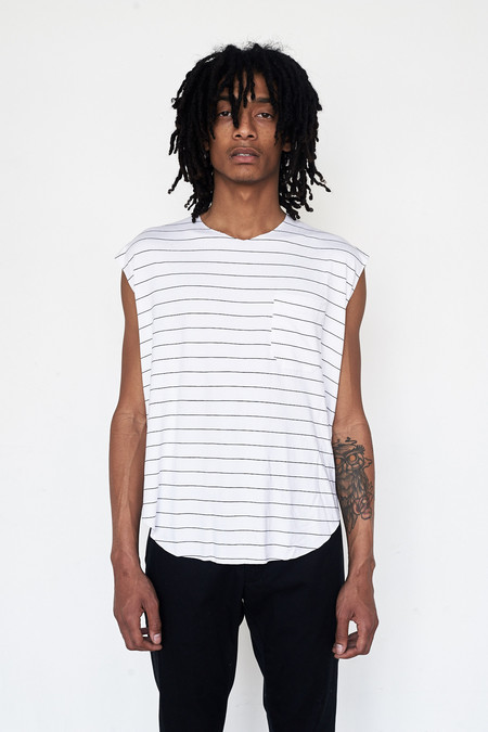 Assembly New York Cotton Reverse Terry Muscle Tee - Stripe