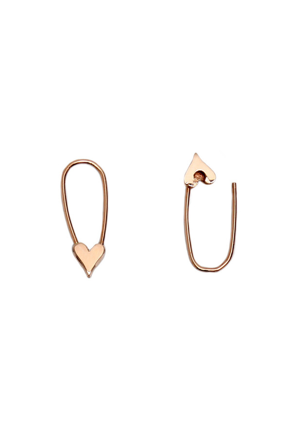 Loren Stewart Mini Heart Safety Pin Earrings