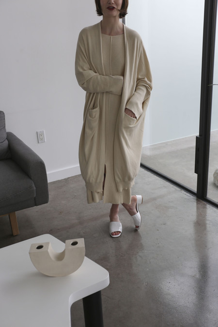 Lauren Manoogian Fine Wide Cardigan in Ivory