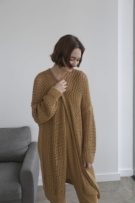 Lauren Manoogian Net Cardigan in Curry