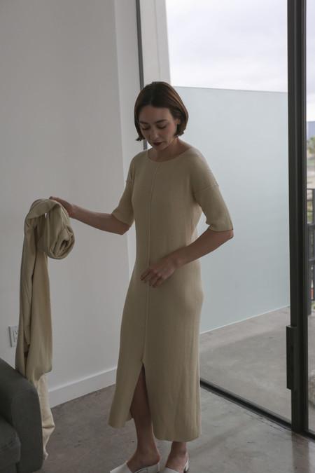 Lauren Manoogian Rib Tee Dress in Ivory