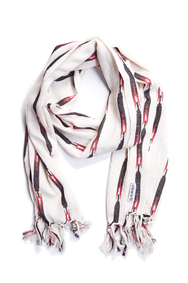 Kiriko Karu Ori White Black Red Stripe Scarf