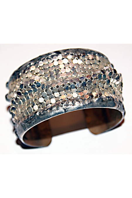 "7 on Locust Brass Cuff with Silver Mesh - 1.5"" Width"
