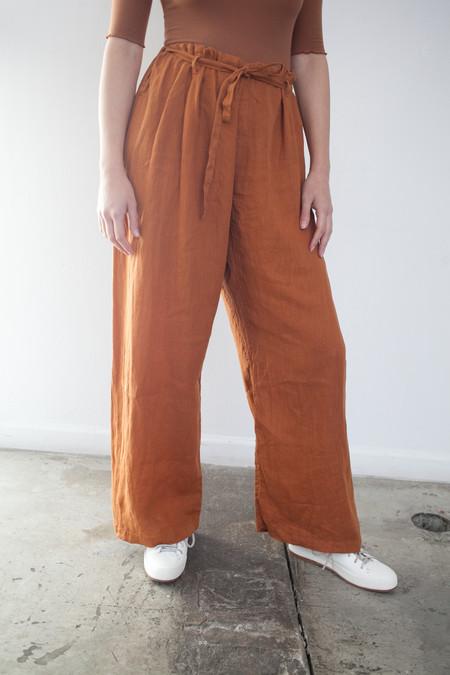 Black Crane Drawstring Pants in Rust