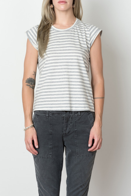 The Podolls Milieu Tee In Grey Stripe
