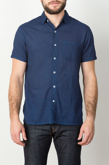 Industry of All Nations S/S Clean Madras Shirt In Indigo 12 Dip