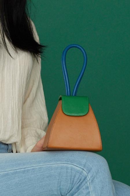 Color Block Triangle Bag- Camel