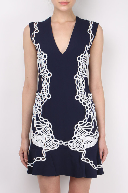 Jonathan Simkhai Truss Applique V-Neck Peplum Dress