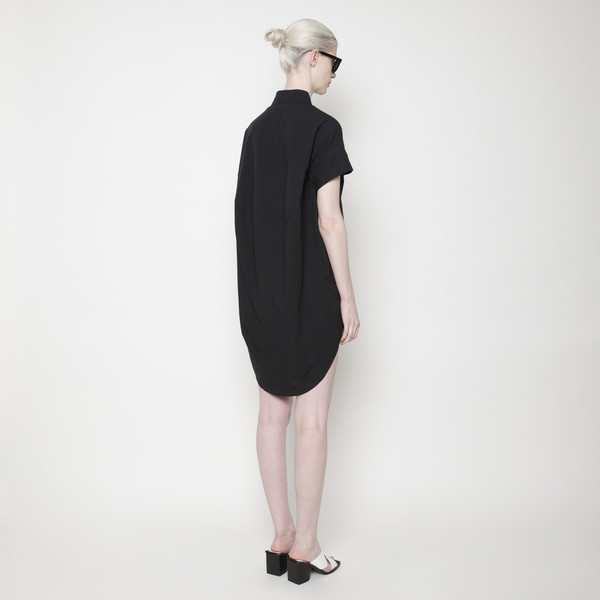 Short Sleeve Shirt Dress PF15 - Black