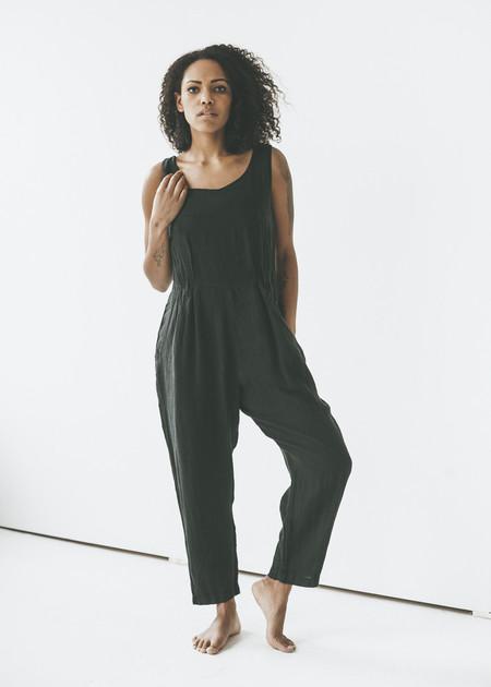 Black Crane - Linen Overalls in Black
