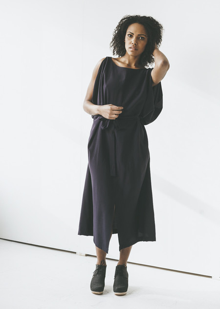 Sunja Link - Drape Dress in Navy