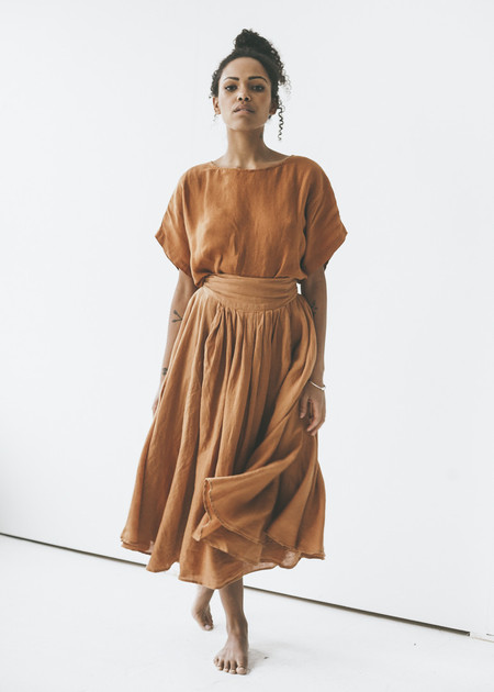 Black Crane - Wrap Skirt in Rust