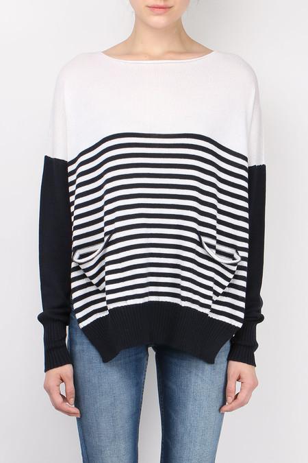 Ma'ry'ya Over Stripe Side Open Sweater