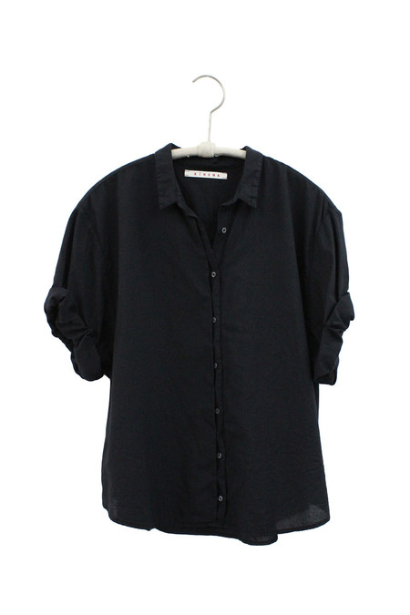 Xirena COTTON POPLIN CHANCE CROPPED SHIRT - BLACK