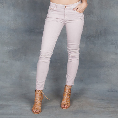Mother Denim Mother Looker Crop Blush Distressed Jeans