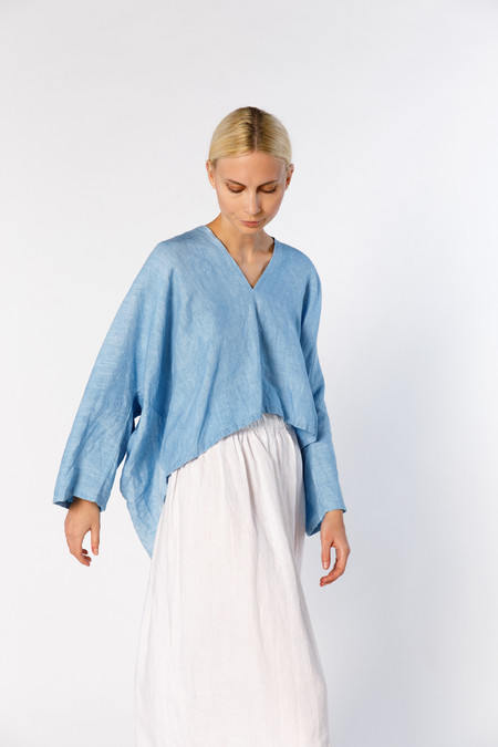 Miranda Bennett Muse Top - Linen in Light Indigo