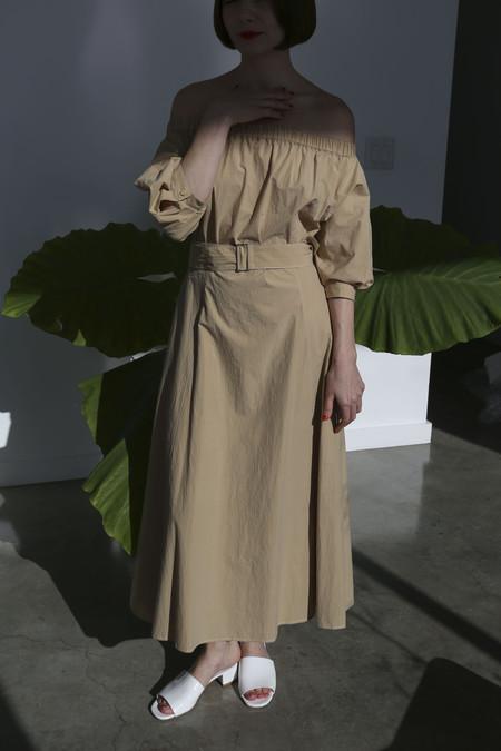 Sayaka Davis Off-Shoulder Dress in Sand Beige