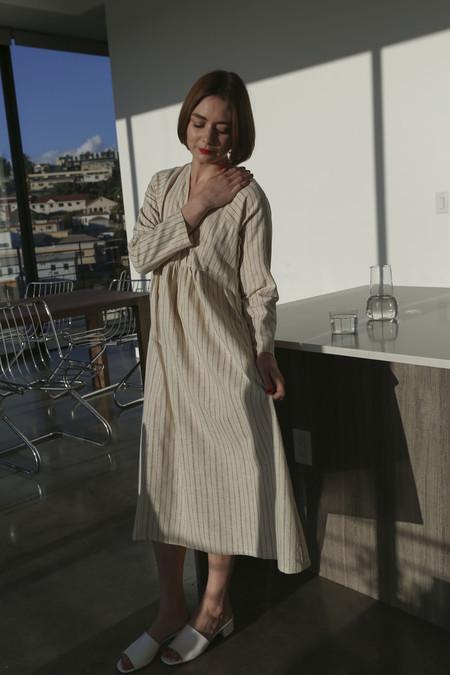SVILU Imogen Dress in Ecru Ticking Stripe
