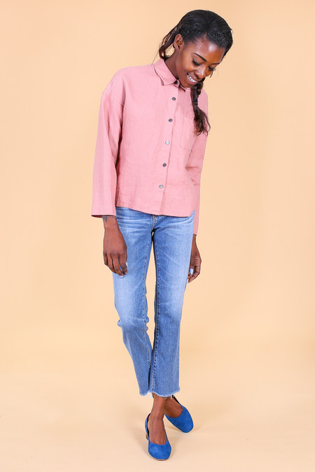 Svilu Button Down Shirt in Cotto Pink