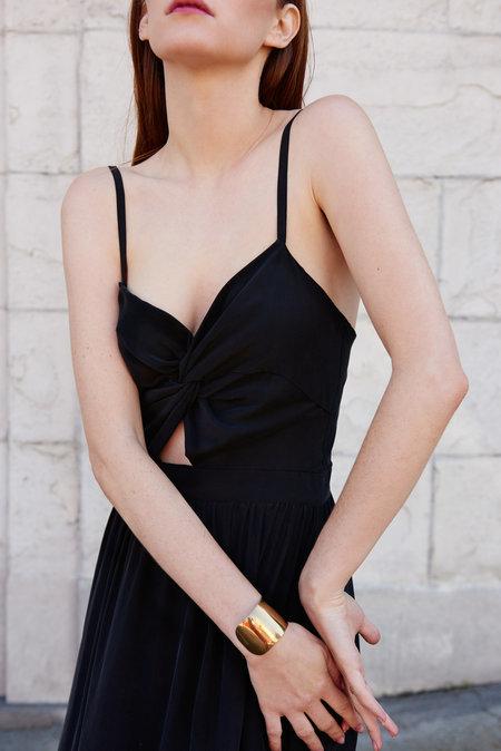 KAMPERETT Compass Silk Knot Dress - Black