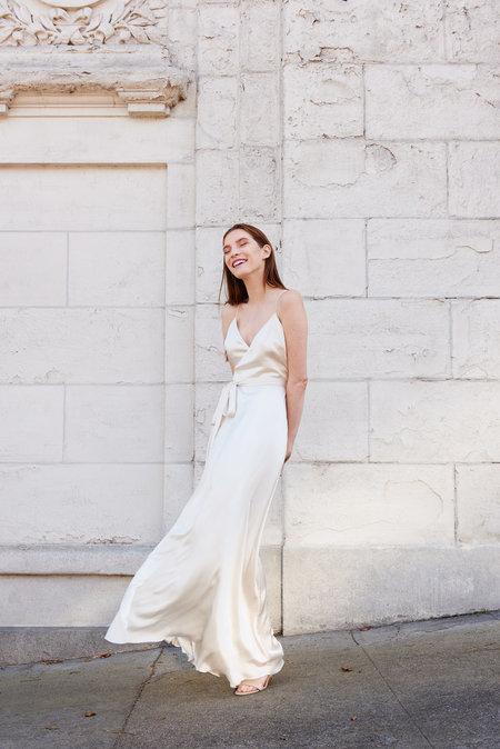 KAMPERETT Nuit Silk Satin Wrap Dress - Ivory