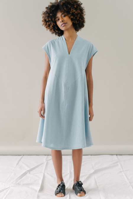 REIFhaus Emi Dress in Light Indigo Denim