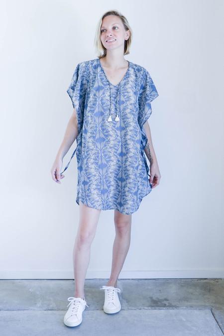 Mirth Caftans Bali Caftan in Blue And Ivory Block Print