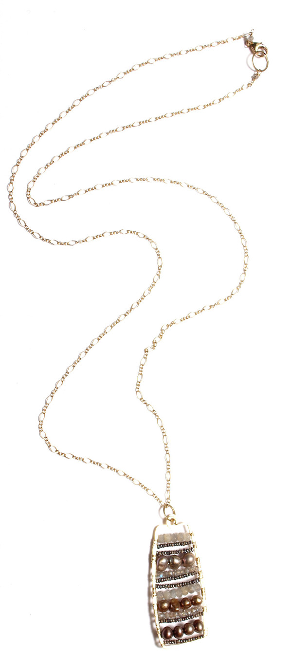 James and Jezebelle Labradroite & Pearl Paddle Necklace