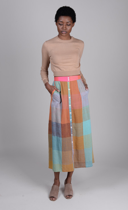 Anaak Jessica Button Skirt - Rainbow Madras