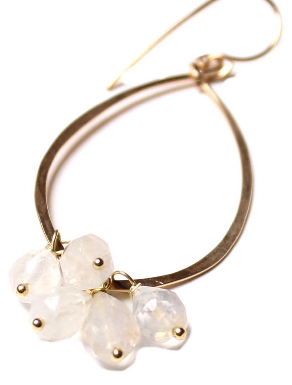 Moonstone Dangle Hoops