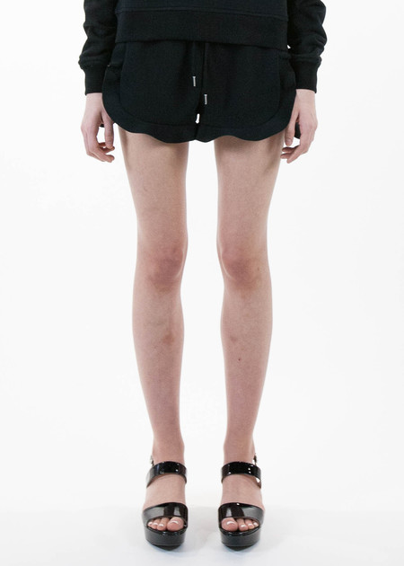 Carven Black Ruffle Shorts in Crepe